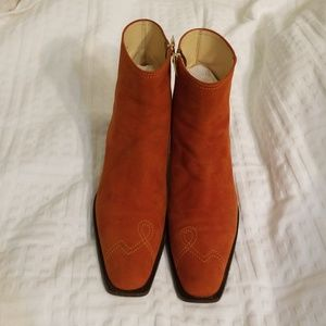 Monica Magli orange suede booties size 37